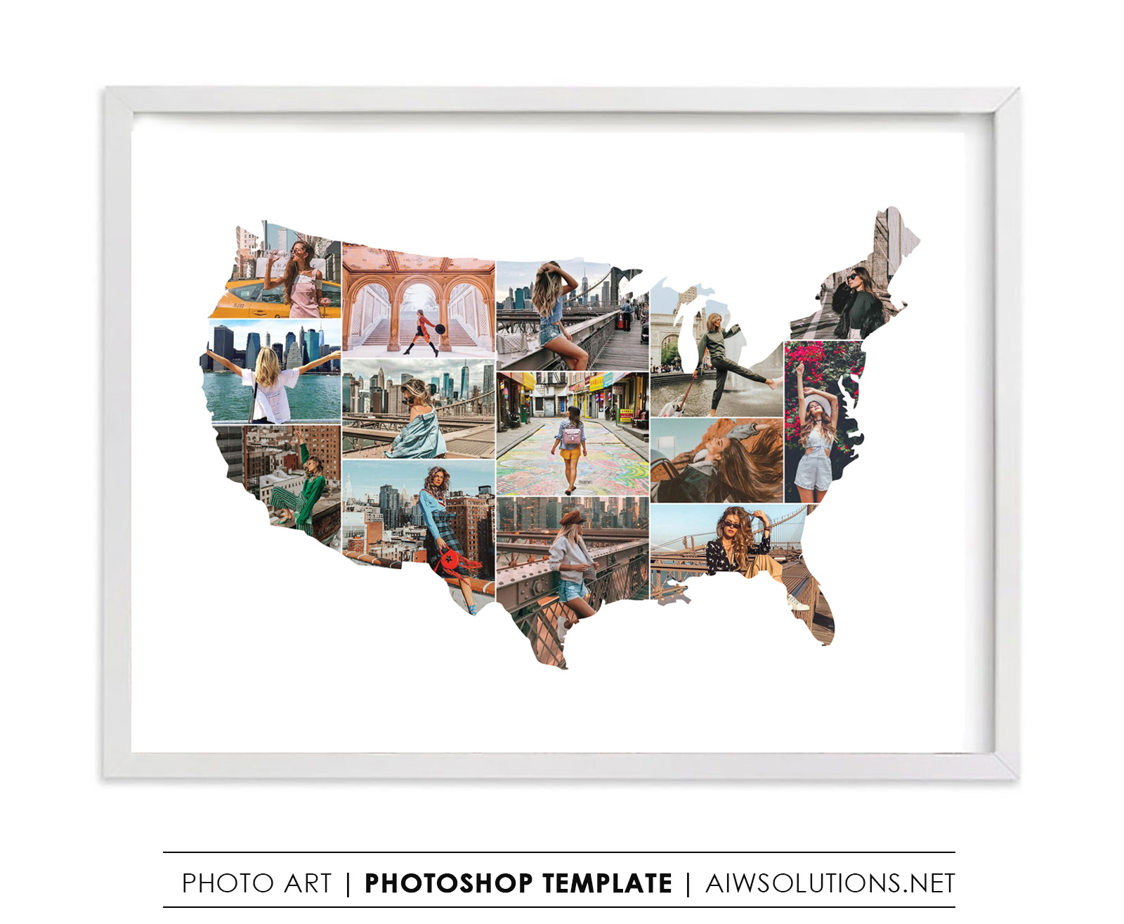 Us Map Photo Collage United States map art , United States map photo collage, United